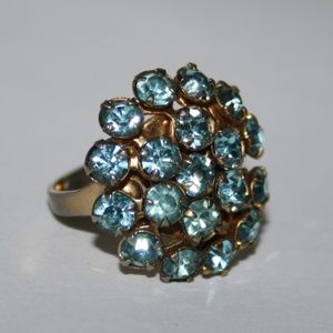 Vintage gold and blue rhinestone ring adjustable